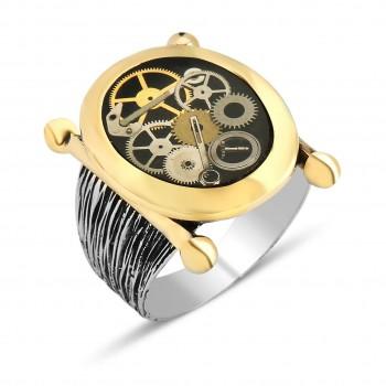 Saat İçi Görünümlü Erkek Gümüş Yüzük MY0604004
