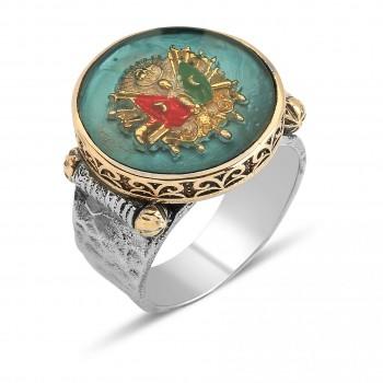 Osmanlı Tuğralı Erkek Gümüş Yüzük MY0604012