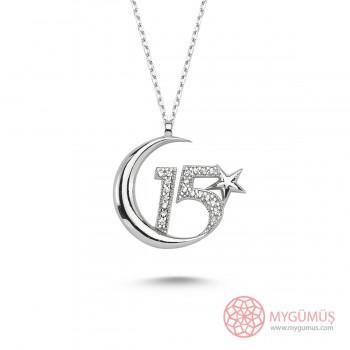 15 Temmuz Özel Üretim Ay Yıldız Gümüş Kolye MY101206
