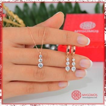 Tria Gümüş Kolye Küpe Set MY101760