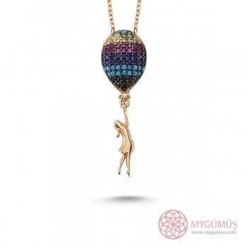 Renkli Balon Bayan Gümüş Kolye MY100058R