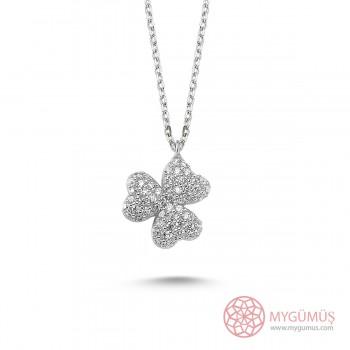 Zirkon Taşlı Minik Kalpler Gümüş Kolye MY0301034