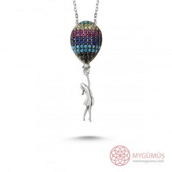 Renkli Balon Bayan Gümüş Kolye MY100058S
