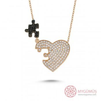 Zirkon Taşlı Kalbimin Parçası Puzzle Gümüş Kolye MY0301054