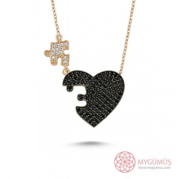 Kalbimin Parçası Puzzle Gümüş Kolye MY0301054S