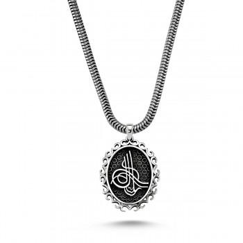Osmanlı Tuğra Besmele Yazılı Erkek Gümüş Kolye MY01012