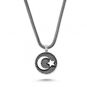 Ay Yıldız Motifli Erkek Gümüş Kolye MY01017