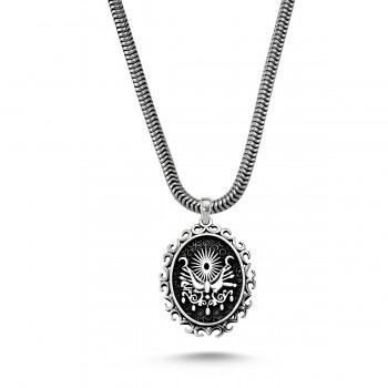 Osmanlı Tuğra İşlemeli Erkek Gümüş Kolye MY01011