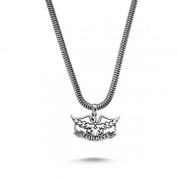 Türkiye Yazılı Kartal Motifli Erkek Gümüş Kolye MY01037