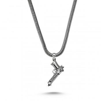 Silah Motifli Erkek Gümüş Kolye MY01043