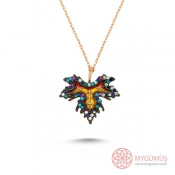 Renkli Çınar Yaprağı Gümüş Kolye MY0301060