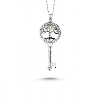 Anahtar Hayat Ağacı Gümüş Kolye MY101125