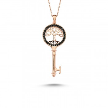 Anahtar Hayat Ağacı Gümüş Kolye MY101125R