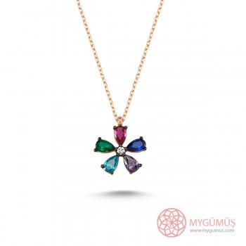 Renkli Çiçek Gümüş Kolye MY101122