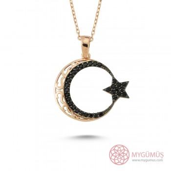 Safir Taşlı Ay Yıldız Gümüş Kolye MY100121R