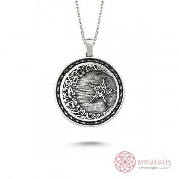 Allah C.C Yazılı Ay Yıldız Erkek Gümüş Kolye MY101157