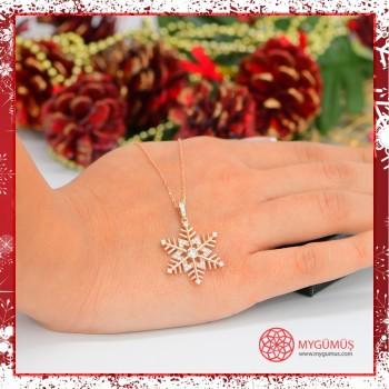 Zirkon Taşlı Kar Tanesi Gümüş Kolye MY101795