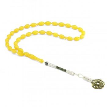 925 Ayar Gümüş Kazaz Püsküllü Sarı Renk Sıkma Kehribar Tesbih MY260794
