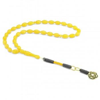 925 Ayar Gümüş Kazaz Püsküllü Sarı Renkli Sıkma Kehribar Tesbih MY260796