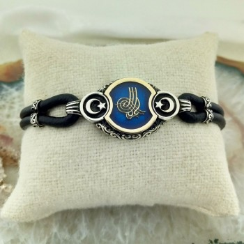 Mavi Mineli Ay Yıldız Osmanlı Tuğrası Erkek Gümüş Bileklik MY111057