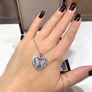 İsme Özel Kalp Kelebek Gümüş Kolye MY102272