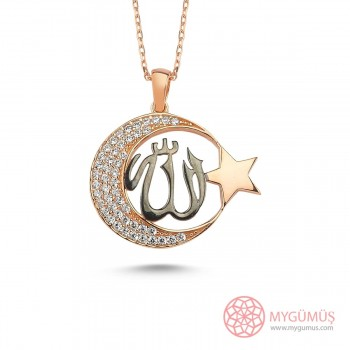 Allah C.C Yazılı Ay Yıldız Gümüş Kolye MY101500