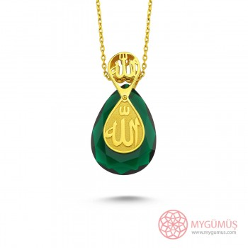 Tesir Nazzar Yeşil Damla Gümüş Kolye MY101791