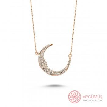Zirkon Taşlı Ay Gümüş Kolye MY101670