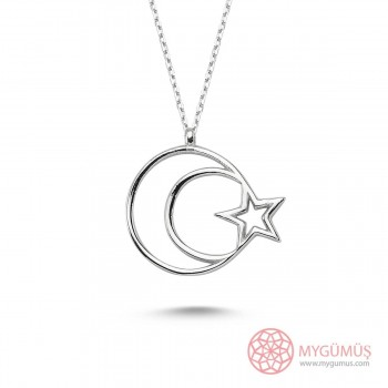 Ay Yıldız Bayan Gümüş Kolye MY101208