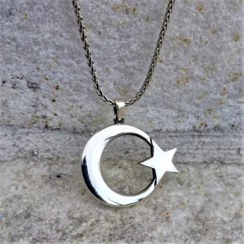 Ay Yıldız Erkek Gümüş Kolye MY102392