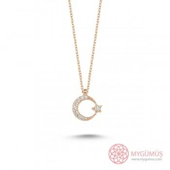 Ay Yıldız Zarif Tasarım Gümüş Kolye MY101371
