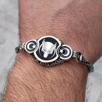 Ay Yıldız İşlemeli Börü Kral Zincirli Gümüş Erkek Bileklik MY102166