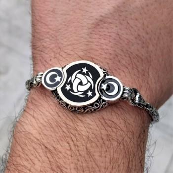 Ay Yıldız İşlemeli Teşkilatı Mahsusa Yazılı Kral Zincirli Gümüş Erkek Bileklik MY102165