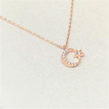 Ay Yıldız Minimal Gümüş Kolye MY102317