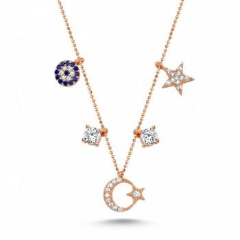 Ay Yıldızlı Şans Gümüş Kolye MY101702