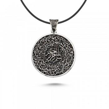 Ayetel Kursi Yazılı Gümüş Kolye MY101701
