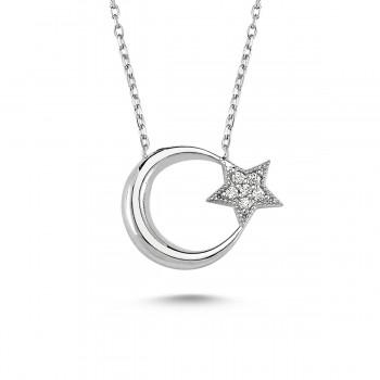 Ay Yıldız Taşlı Gümüş Kolye MY100057