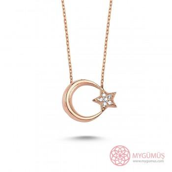 Ay Yıldız Taşlı Gümüş Kolye MY101318