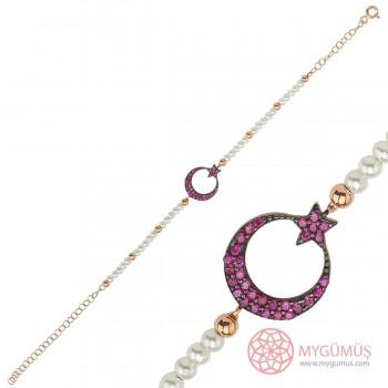Mercan Taşlı Ay Yıldız Gümüş Bileklik MY101470