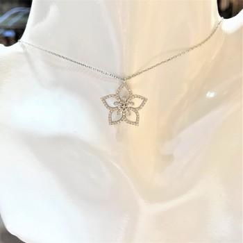 Baget Taşlı Çiçek Gümüş Kolye MY102389