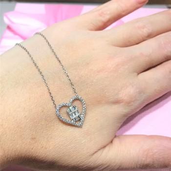 Baget Taşlı Kalp Gümüş Kolye MY102199