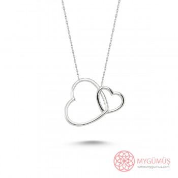 Bağlanmış Kalpler Gümüş Kolye MY101189