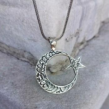 Besmele-i Şerif İşlemeli Ay Yıldız Gümüş Kolye MY101867