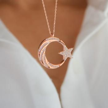 Burgu Taş İşlemeli Ay Yıldız Gümüş Kolye MY101799