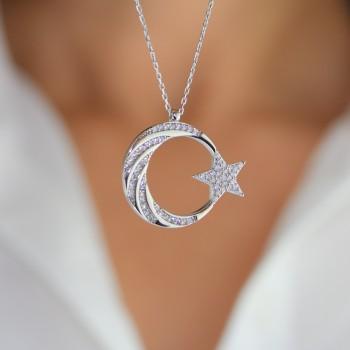 Burgu Taş İşlemeli Ay Yıldız Gümüş Kolye MY101800
