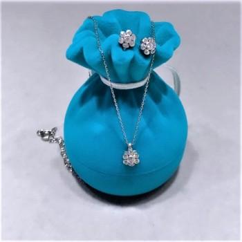 Çiçek Gümüş Kolye Küpe Set MY102099
