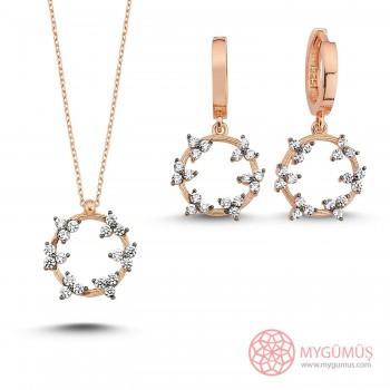 Çiçekli Taş Halka Gümüş Kolye Küpe Set MY101627