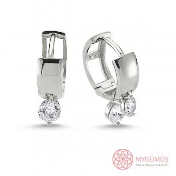 Çift Taşlı Halka Gümüş Küpe MY100105