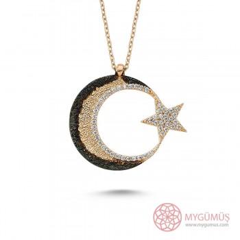 Cimarlı Ay Yıldız Gümüş Kolye MY0301056