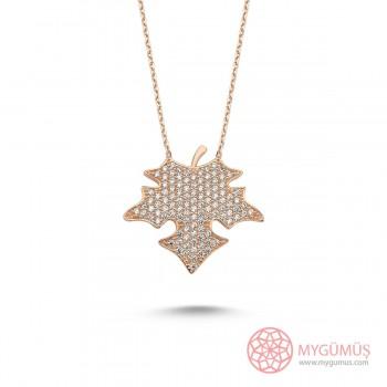 Çınar Yaprağı Tasarım Gümüş Kolye MY101664
